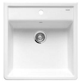 New Blanco Panor 60 Ceramic Kitchen Sink Crystal White Glossy