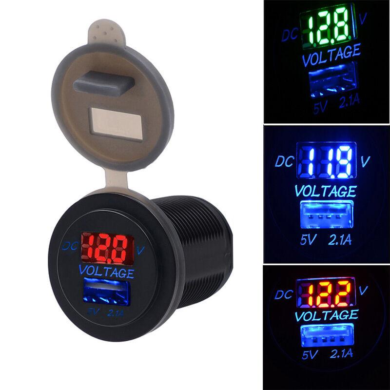 5V 2.1 A CARICATORE USB ADATTATORE PER PRESA Voltmetro 12V 24V MOTO AUTO