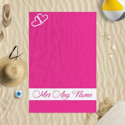 147x99.1cm Personalizado Rosa Corazón Mrs Diseño Microfibra Toalla Playa Boda De