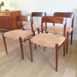 Four Model 75 Teak Dining Chairs by Niels Otto Møller for J. L.