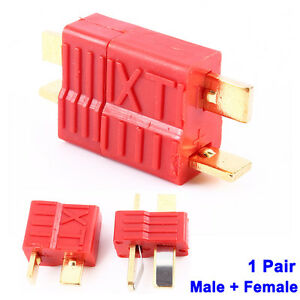 1 Pair Deans Ultra T-Style Connector Plug Female & Male For RC LiPo Battery Hot