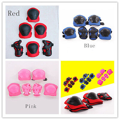 6pcs Kid Roller Skating Skateboard Knee Elbow Wrist Protective Guard Pad Gear GA