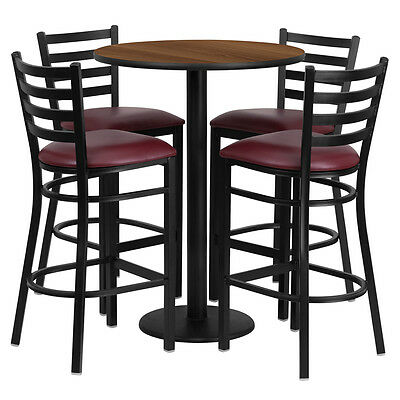 Restaurant Table Chairs 30 Walnut Laminate With 4 Ladder Back Metal Bar Stools