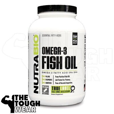 Nutrabio   Omega 3 Fish Oil 500Softgels   Essential Fatty Acids Epa Dha