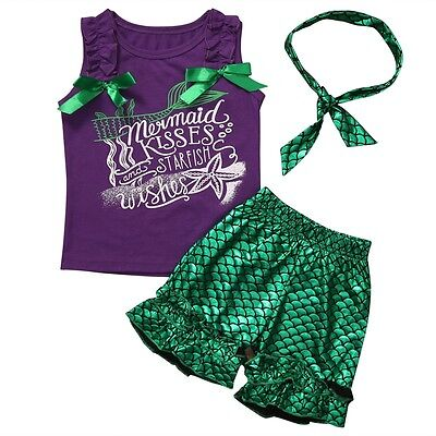 Baby Kids Girl Outfits 3PCS Little Mermaid Tops+Shorts+Headband Costumes Clothes](Little Mermaid Outfits)