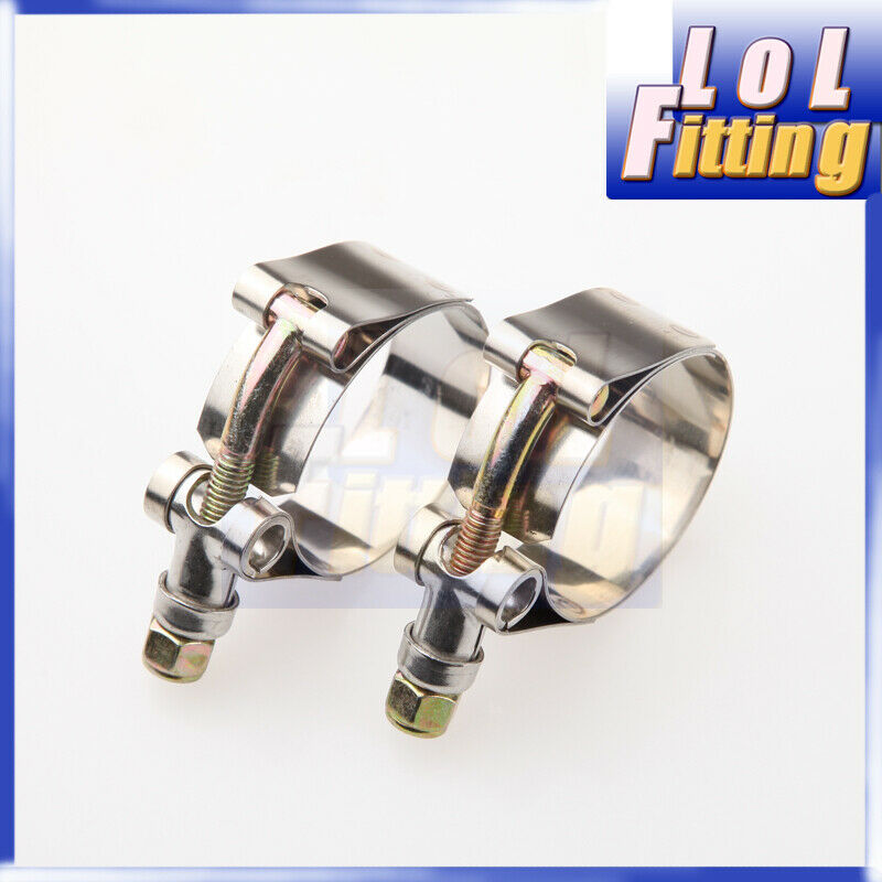 """4pcsx 2.25/"""" Inch 60-68mm 57mm ID Stainless Steel T-Bolt Silicone Hose Clamps"""