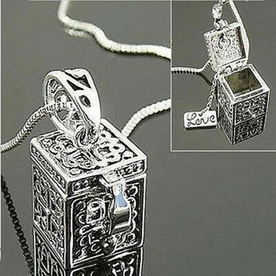 (New Vintage Silver Necklace Box Charms Pendant  Women Jewelry Christmas Gift TWU)