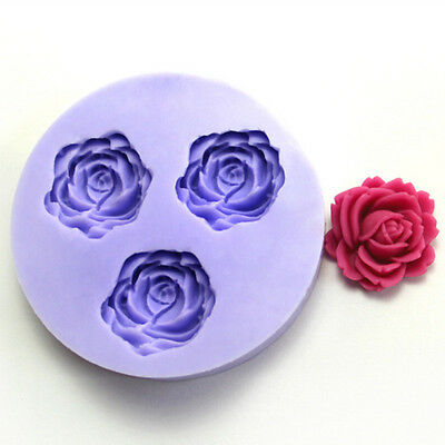 3 Hole Rose Flower Silicone Mold Fondant Chocolate Mold Cake Decor Sugarcraft
