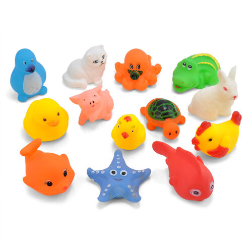 13PCS Baby Bath Toys Squeaky Rubber Animal Floating Water Children Kids Love Toy
