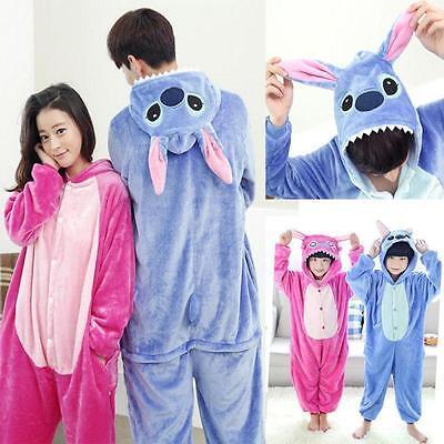 Unisex Adult Kid Pajamas Kigurumi Cosplay Animal  Sleepwear Shoes Stitch Onesi1e