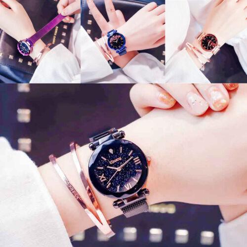 Luxusuhr Damenuhr Sternenhimmel Uhr Wasserdicht Magnet Armband  Quarz Zifferblat