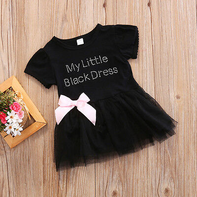 US Newborn Baby Girls Black Lace Princess Tutu Tulle Dress Party Dress Bowknot
