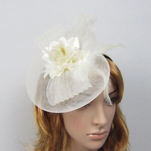 Ivory or White Bridal Fascinator Hairpiece Hats - New
