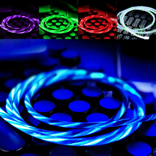 LED flowing USB-Lightning Charger Charging Cable Cord For IO