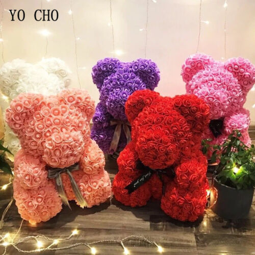 40cm Red Rose Bear Flowers Artificial Teddy Bear Roses Foam Valentine