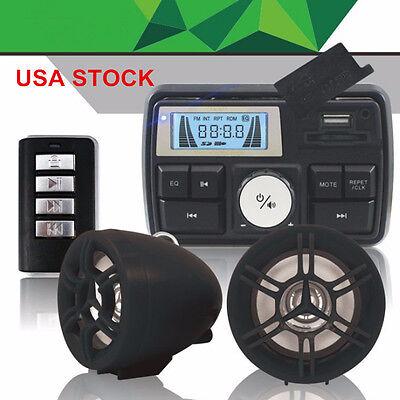 Motorcycle Audio USB SD FM Radio Stereo Amplifier Speaker MP3 Anti-theft Alarm