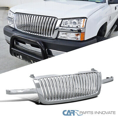 For 03-05 Chevy Silverado Avalanche Pickup Vertical Chrome Front Hood Grille