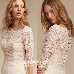 White Ivory Bolero Wedding Bridal Jacket 3/4 Sleeve Lace Applique Elegant Wraps