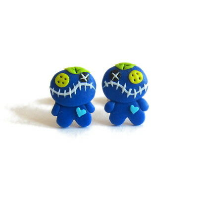 Blue Halloween  Gifts For Kids Costume Girls Voodoo Doll Scary Earrings Jewelry