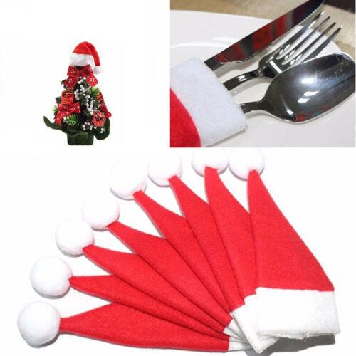 10pcs Xmas Hat Silverware Cutlery Holder Christmas Tree Holiday Party Decoration