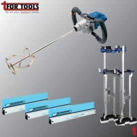 """Ox Plastic speedskim 600mm, 900mm, 1200mm Kit + Draper 09559 1400w Mixing Drill & 24-40"""" Stilts"""