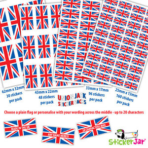 Union Jack Great Britain Stickers Labels Made in the UK Personalised NL12