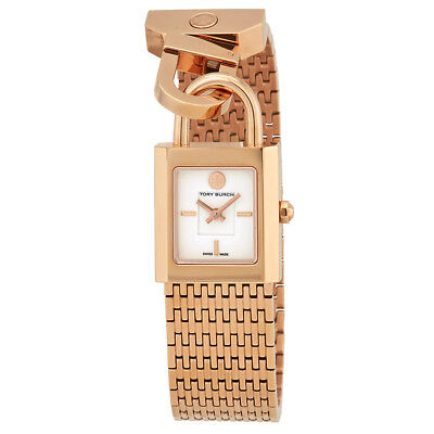 Tory Burch Surrey Ivory Dial Ladies Rose Gold Tone Watch TRB7102