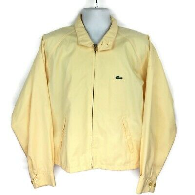Vintage Izod Lacoste Full Zip Bomber Jacket Windbreaker Men Sz XL Yellow