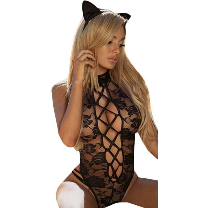 Women PVC Faux Leather Lingerie G-String Underwear Erotic Nightwear Sleepwear Clothing, Shoes & Accessories