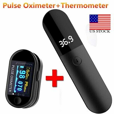 No Contact Infrared Forehead Thermometer Fingertip Pulse Oximeter Spo2 Monitor