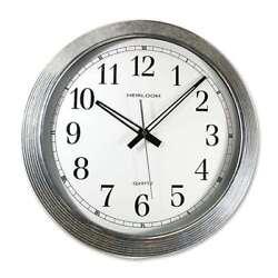 Artistic 16 Galvanized Metal Round Wall Clock, Silver Metal - AOP401ZWA