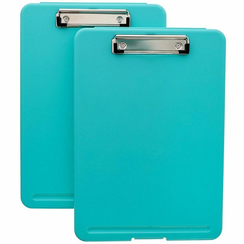 Juvale 2-Pack Foldable Medical Nursing Clipboard with Storage, Turquoise