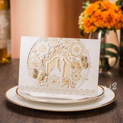 - 100 PCS Luxury Beige Laser Cut Birthday Wedding Invitation Cards Free Envelopes