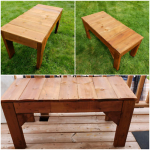 Treated wood bench