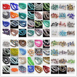 Free-Ship-50Pcs-8x6mm-Faceted-Glass-Loose-Spacer-Beads-Rondelle-Finding-135Color