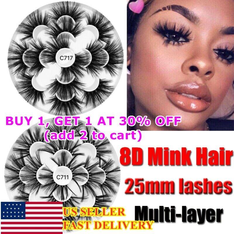 7 Pairs Mink Lashes Mink Eyelashes Natural Hair 25mm Lashes