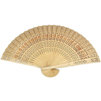 Vintage Folding Bamboo Original Wooden Carved Hand Fan Wedding Bridal Party ZY