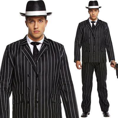 Gangster Costume Black Suit Mens Al Capone Fancy Dress 1920s Mafia Adult Outfit