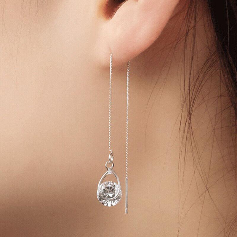 Jewellery - Elegant Long Drop Earrings Women 925 Silver,Gold White Sapphire Jewelry A Pair