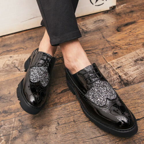 Details about  /Mens Low Top Fashion Faux Leather Shoes Pointy Toe Oxfords Shiny Lace up Party L