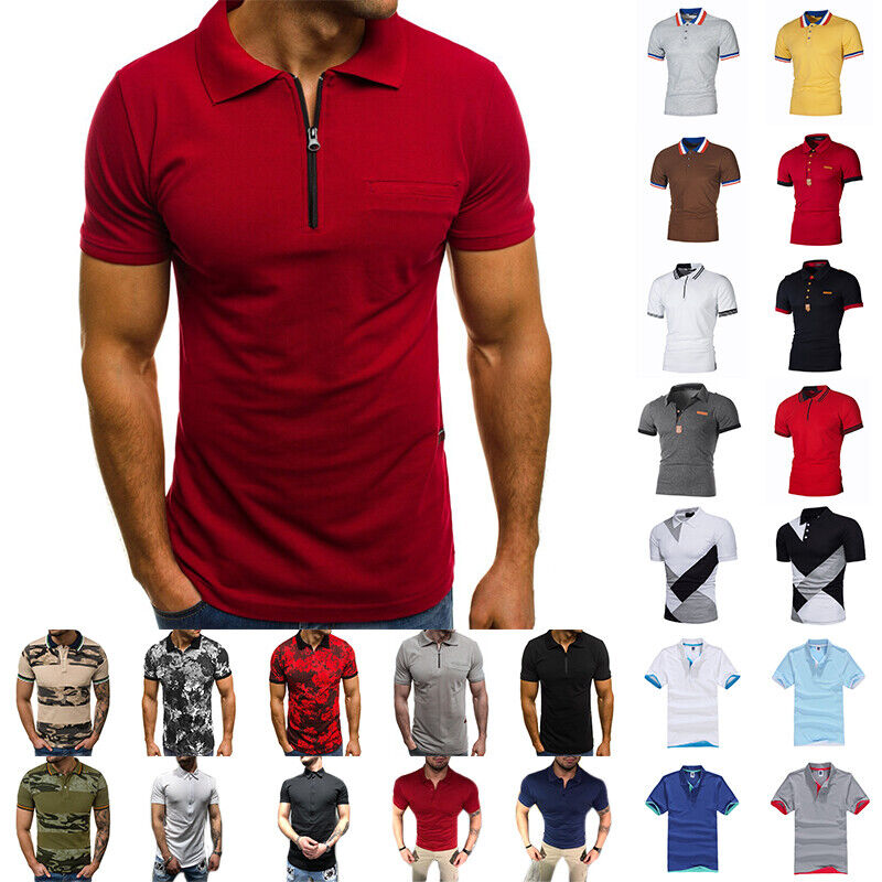 Men's Polo Dress Shirts Summer Short Sleeve T-Shirt Golf Cas
