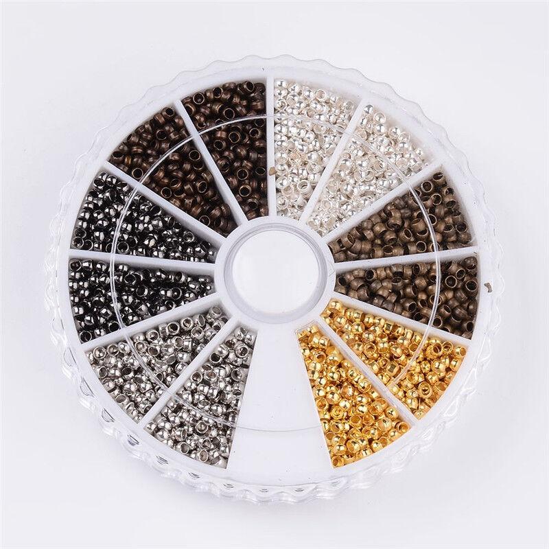 1box 3000pcs mixed tube brass crimp beads