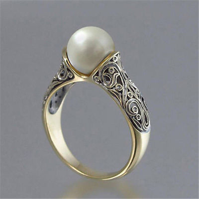- Fashion Wedding Ring for Women 18k Yellow Gold Plated White Pearl Ring Size 5-12