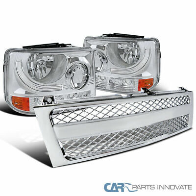 Chevy For 99-02 Silverado Pickup Clear Headlights+Chrome ABS Hood Grille Grill