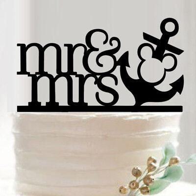 Anchor Cake Topper (Nautical Anchor Mickey Disney - Wedding Cake Topper - Mr and)