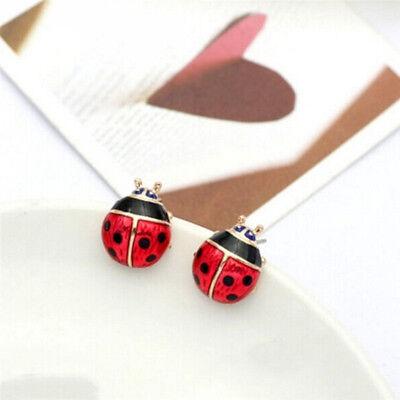 Bright Enameled Red Black Ladybug Light Rose Gold Pierced Post Stud -