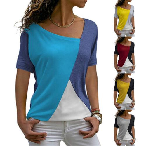 Summer Women Casual Splice Blouse Crew Neck Short Sleeve T Shirt Loose Tunic Top
