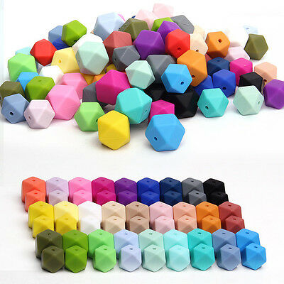 Hexagon Silicone Teething Beads Baby Jewelry DIY Chewable Necklace Teether 14mm