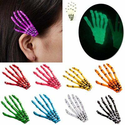 Charm Luminous Women Halloween Hair Clips Claw Hairpin Hand Bone Ghost - Halloween Skeleton Hair