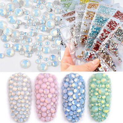1728Pcs Nail Art Rhinestones Glitter Crystal Gems Tips  3D Decoration